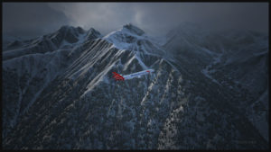 Les montagnes entourant l'aéroport de Innsbruck servent de toile de fond au décollage de ce MD-11 virtuel de Martinair Cargo.
