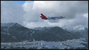 Le MD-11F virtuel de Martinair Cargo au décollage de la piste 26 de l'aéroport de Innsbruck (LOWI)