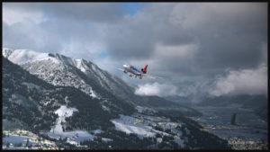 Un MD-11F de PMDG se prépare pour une approche visuelle piste 08 à Innsbruck