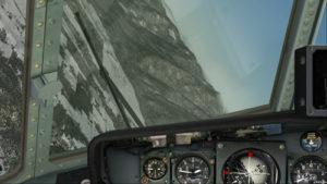 Virage grande inclinaison à gauche pour rallonger la distance vers l'aéroport de Bonners Ferry.