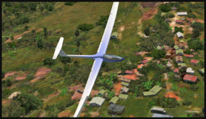 Survol du village de Fane Parish avec un planeur virtuel.