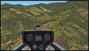 Approche d'un planeur pour la piste en terrain élevé de Fane Parish en Papouasie Nouvelle-Guinée. La vitesse est appropriée et l'angle est bon.