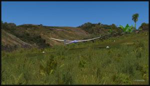 Planeur virtuel avec aérofreins au-dessus de la piste de Fane Parish