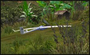 Planeur atterri sur la piste de l'aéroport de Fane Parish en Papouasie Nouvelle-Guinée