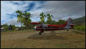 Arrivée d'un avion de type Otter sur la piste en altitude de Launumu.
