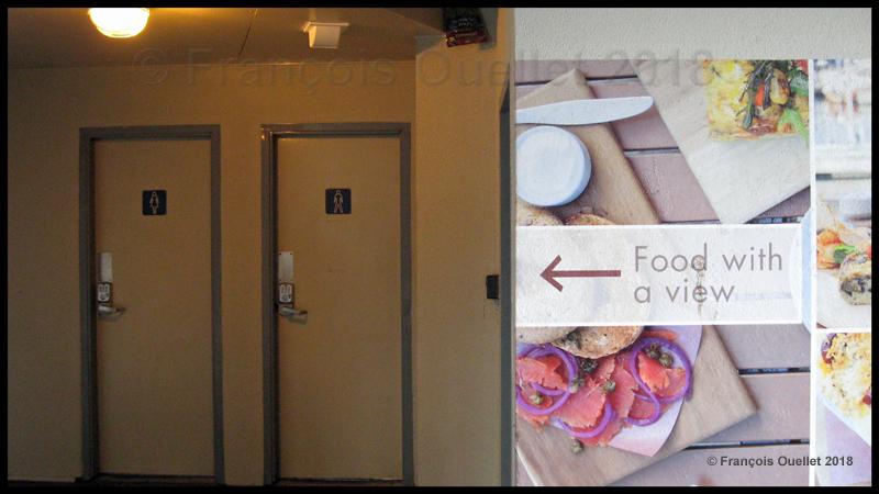 Publicité de restaurant à Victoria avec toilettes.
