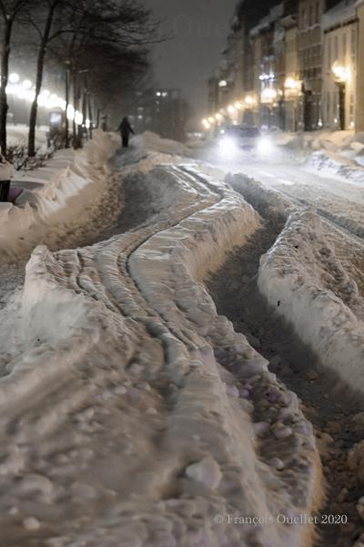 Déneigement retardé dans le Vieux-Québec.