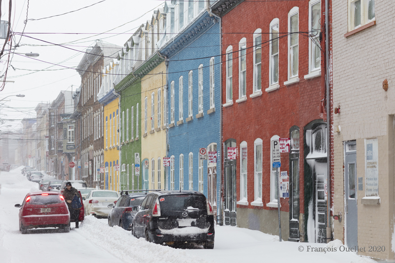 Multicolored buildings near Old Quebec winter 2020