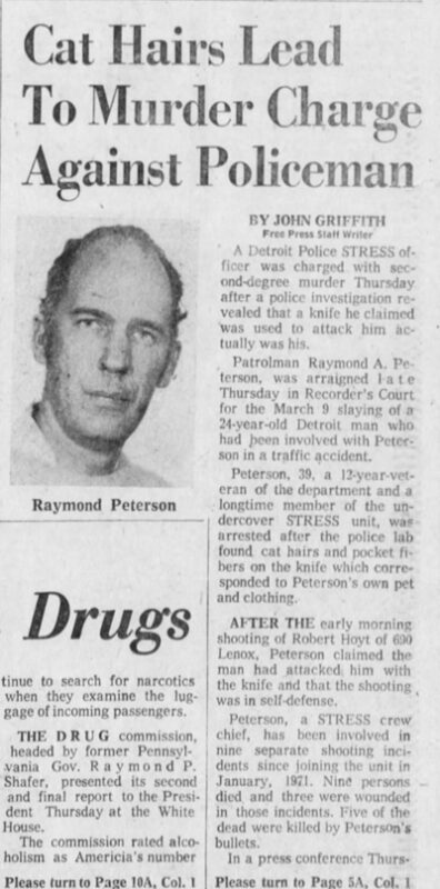 The policeman Raymond Peterson and a murder charge in Detroit in the seventies.