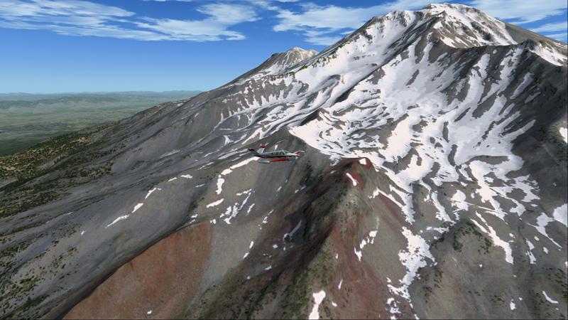 Le Bonanza commence son vol autour de Mount Shasta.