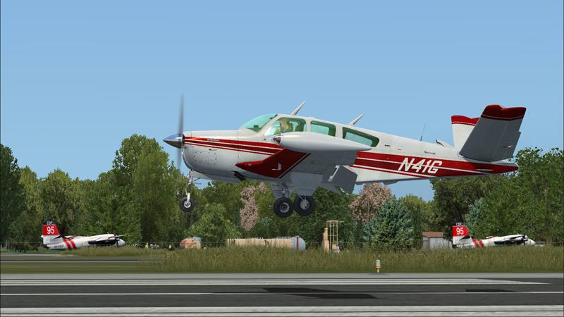 Bonanza virtuel de la compagnie A2A à l'arrivée à Redding (KRDD)