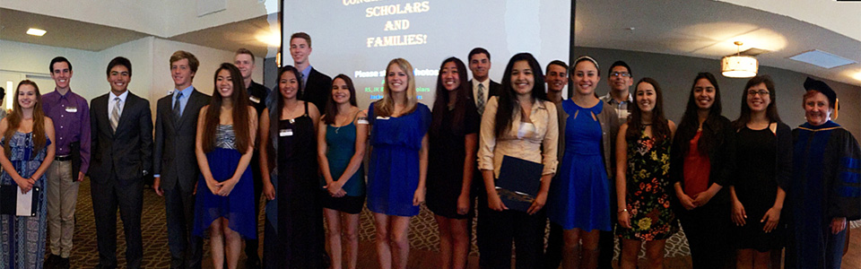 group photo recipients of Kiwanis Club of Rolling Hills Estates 2015 Scholarships with Kiwanis member Dr. Joyce Campbell