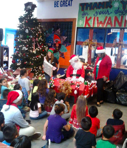 Santa and helper at Kiwanis Club of Rolling Hills Estates Boys and Girls Christmas Party