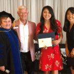 Dr. Joyce Campbell, Richard Sherman and 2019 scholarship recipient and parent
