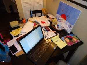 The 48 year old's desk