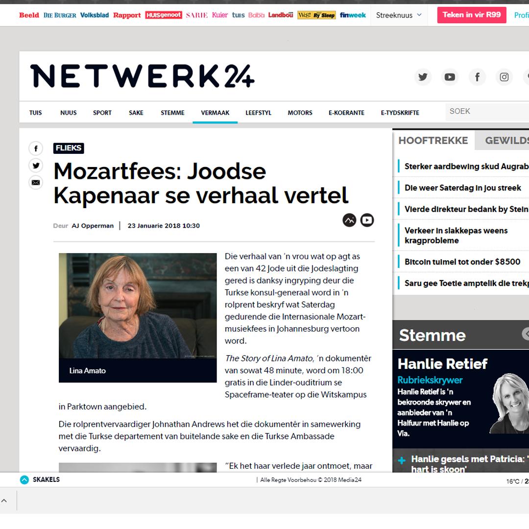 Johnathan Andrews Film on Netwerk24