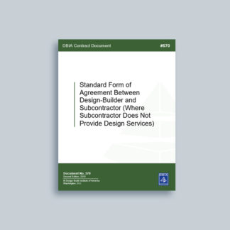 DBIA 570: Standard Form of Agreement Between Design-Builder and Subcontractor (Where Subcontractor Does Not Provide Design Services)
