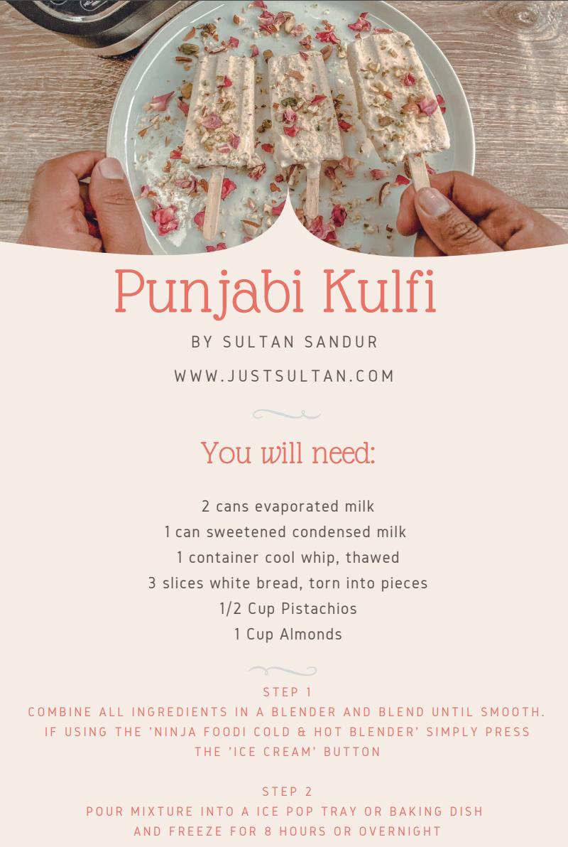 Punjabi Kulfi Recipe - Ninja Foodi Cold and Hot Blender - Recipe Sheet