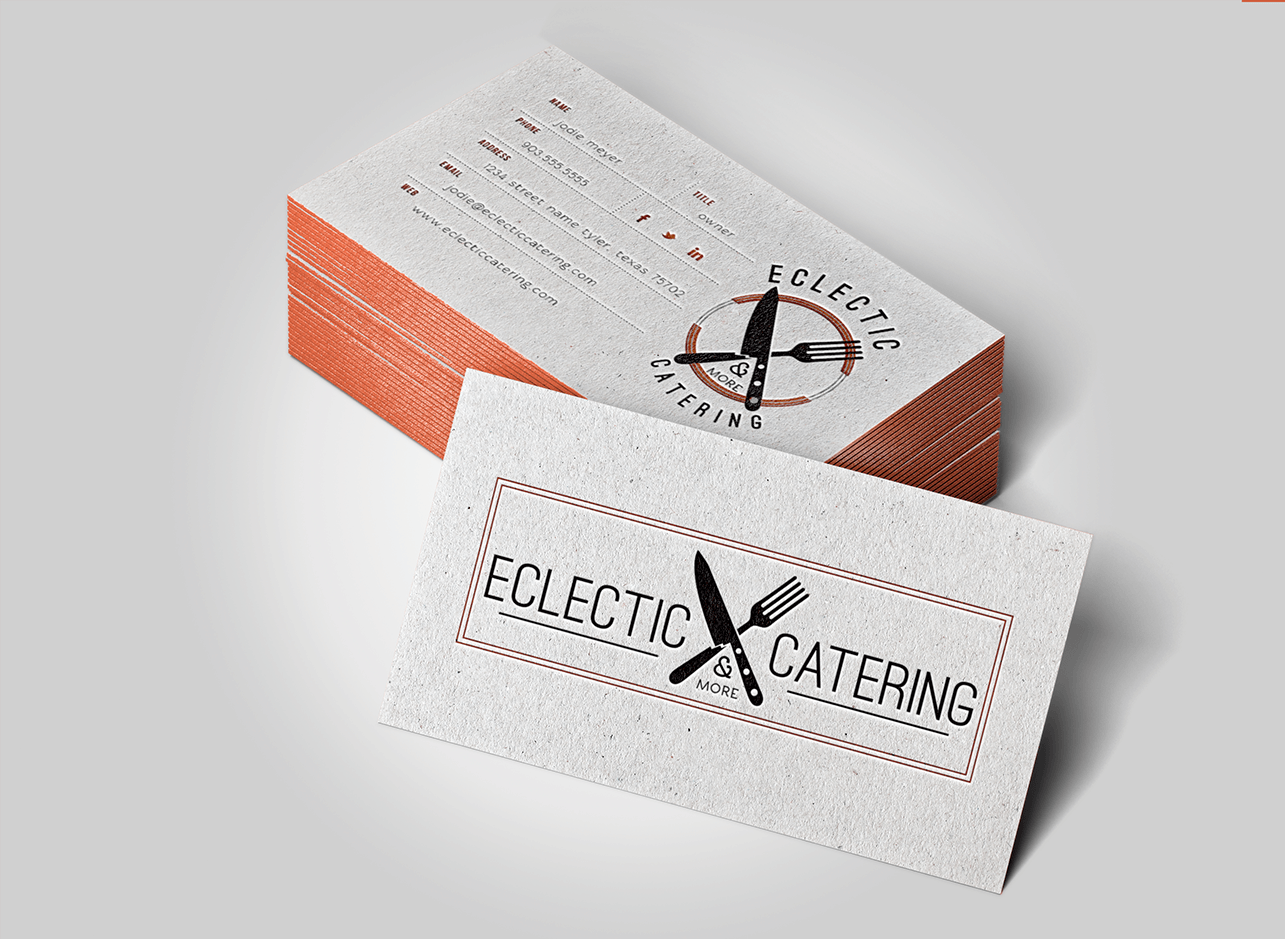 Eclectic Catering Letterpress Business Cards