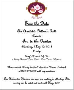 Charitable Children's Guild Tea in the Garden on May 10, 2018 Las Madrecitas
