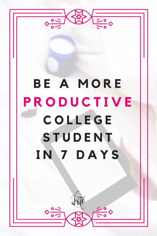 Be a More Productive College Student in 7 Days   Struggling with time management? Need some productivity tips? I've got you covered! Learn how to be more productive in college so that you can get good grades, enjoy some free time, and have your life more balanced with this free email course. Click through to learn more!