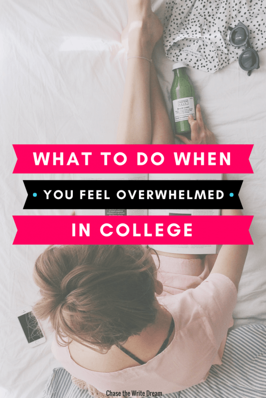 Feeling overwhelmed in college can be stressful and lonely. Instead of letting this negatively impact your grades, learn positive ways to be a successful college student instead. Be more productive, practice self-care, and learn to prioritize to avoid feeling overwhelmed in the future. #college