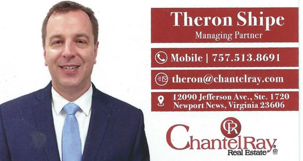 Theron Shipe business card for Chantel Ray Real Estate
