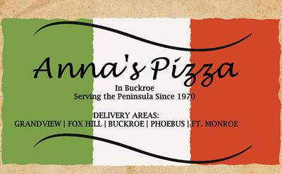Anna's Pizza logo with green, white, red stripes