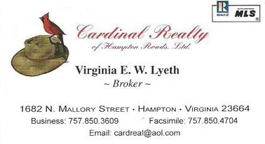 Cardinal Realty business card with a brown hat and a red cardinal bird.