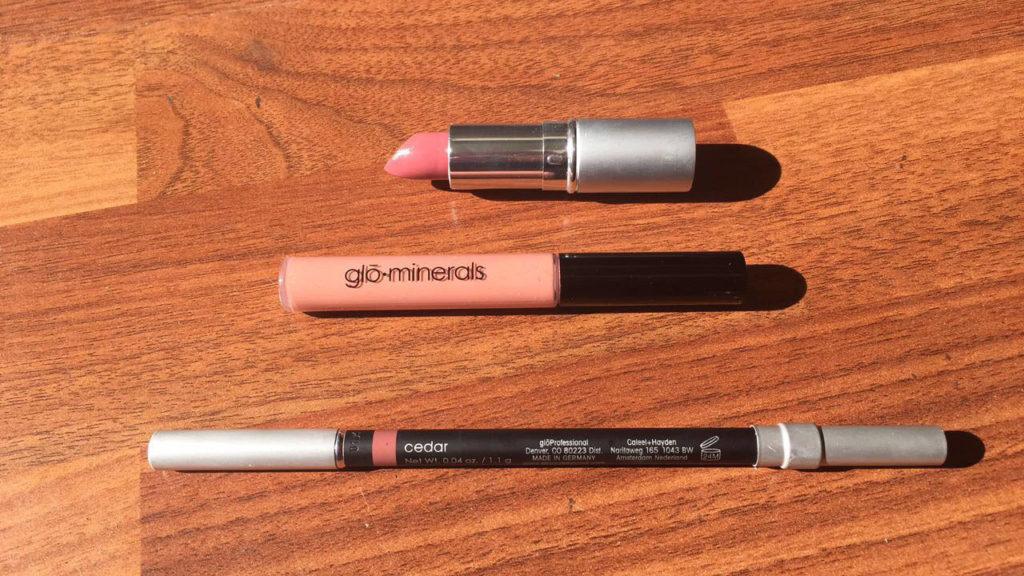 cedar lip pencil, rose petal lipstick, naked lip gloss