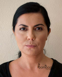 bareMinerals barePro Foundation in Toffee as Bronzer & gloMinerals Blush in Innocent and Hibiscus After