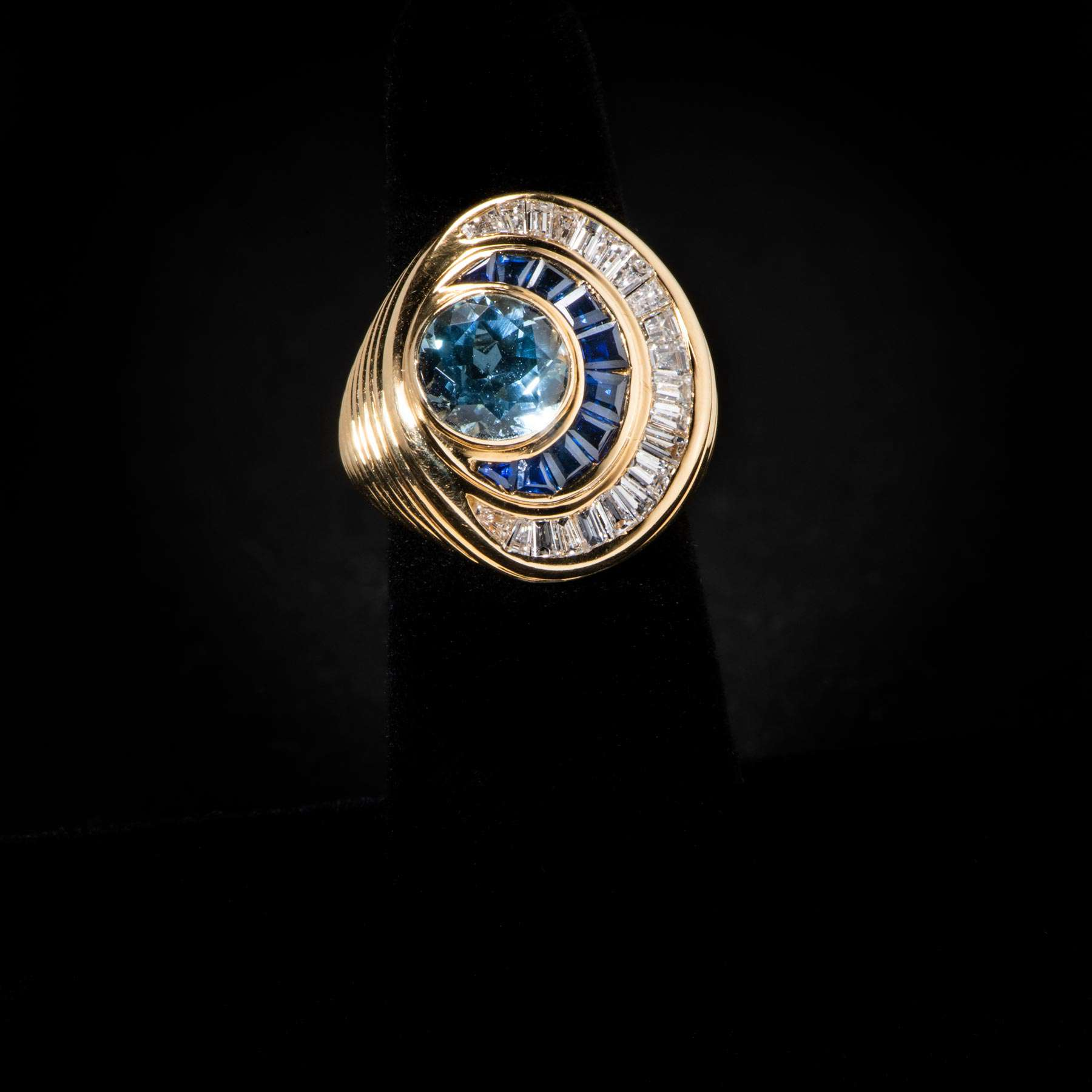 10-64IEX 18K Carven French Ring W Brilliant Cut Aqua Marine & Saphire and Dias. Baguettes