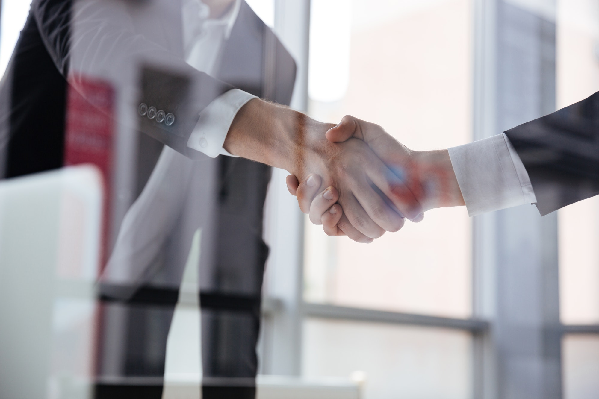 Two businessmen standing and shaking hands in office