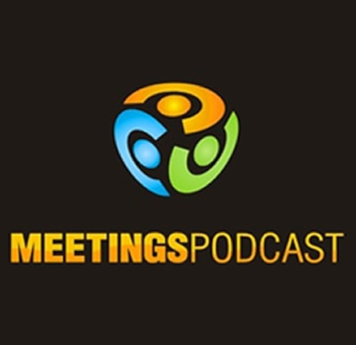 Meetings podcast logo speaking about corporate stories