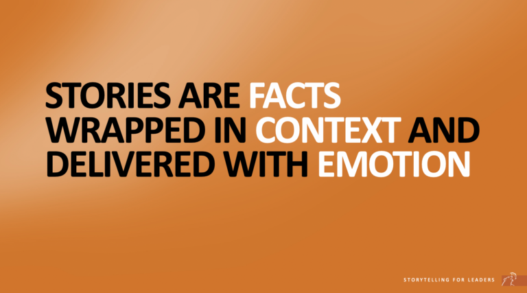 Quote about facts and context in business storytelling