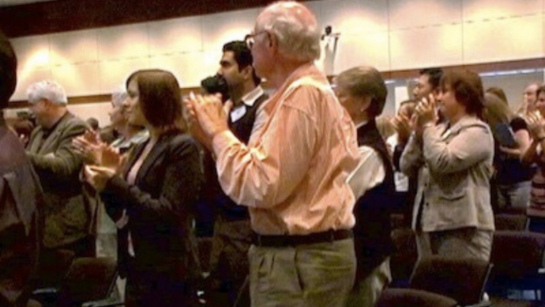 Audience clapping at leadership storytelling training