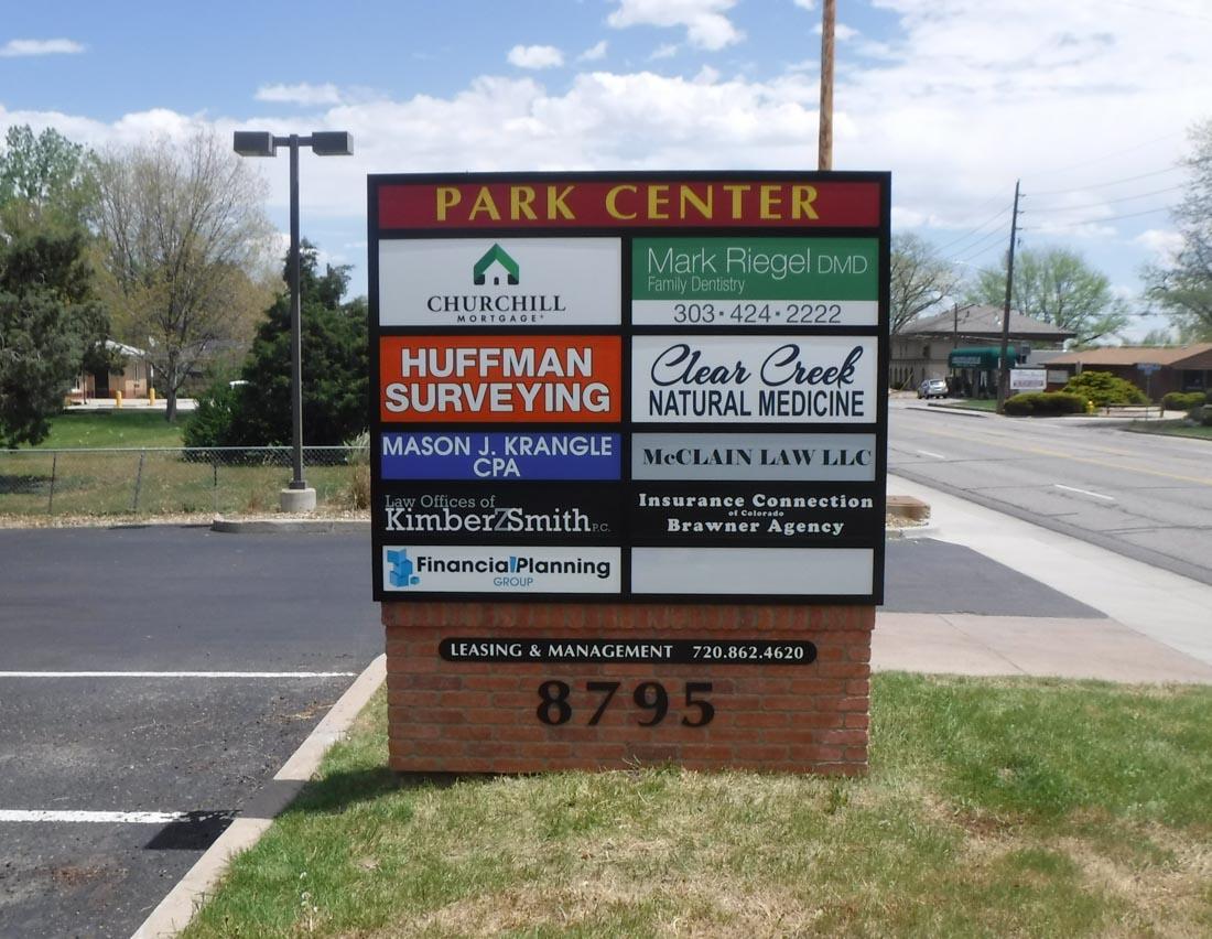 Park center monument sign