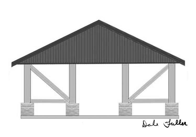 side view of planned Herbster Community Club renovation of park pavilion