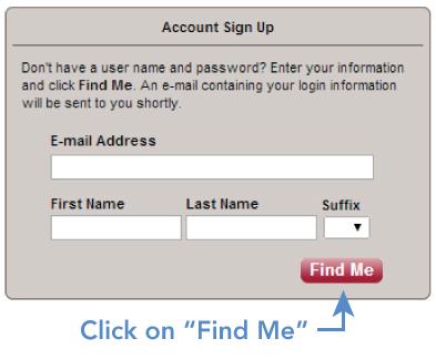 MyWellshire Account Sign Up Screen