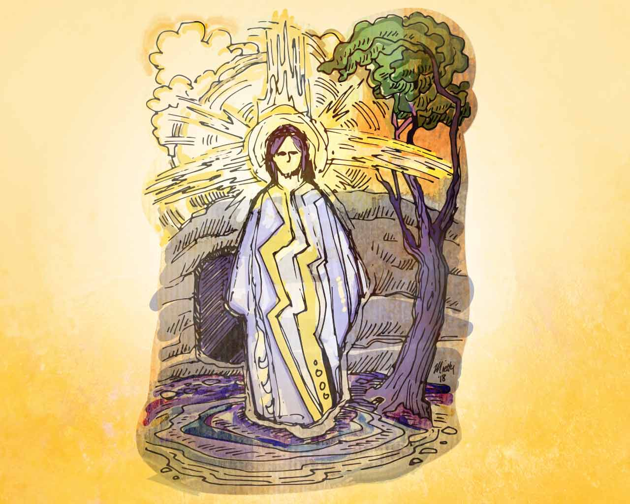 Illustration of the resurrected Christ by Timothy Mietty