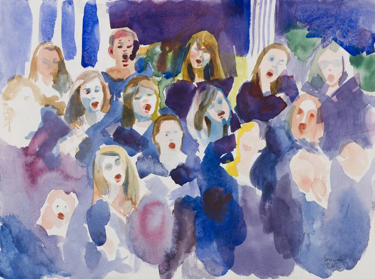 watercolor painting of a choir