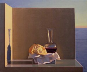 Sermon illustration for March 1, 2020. Bread and Wine by David Ligare.