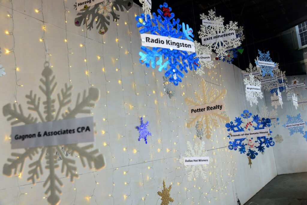 KUBA - Kingston Uptown Business Association Snowflake Festival, sponsorship windows on Wall Street, Kingston in 2019. Photo by Robert Gaston