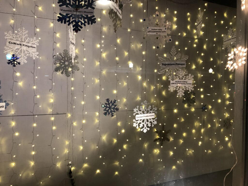 KUBA - Kingston Uptown Business Association Snowflake Festival 2019 Sponsor display windows, Kingston NY. Photo by Robert Gaston