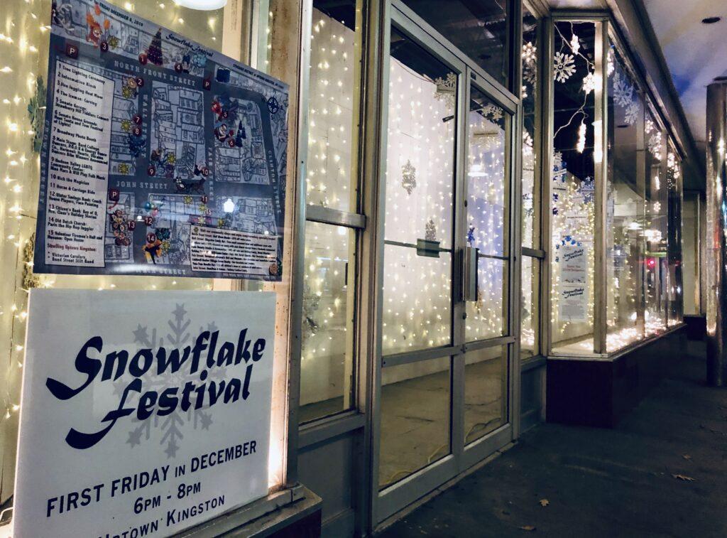 KUBA - Kingston Uptown Business Association Snowflake Festival - sponsorship windows on Wall Street , Kingston NY. Photo by Robert Gaston 2019