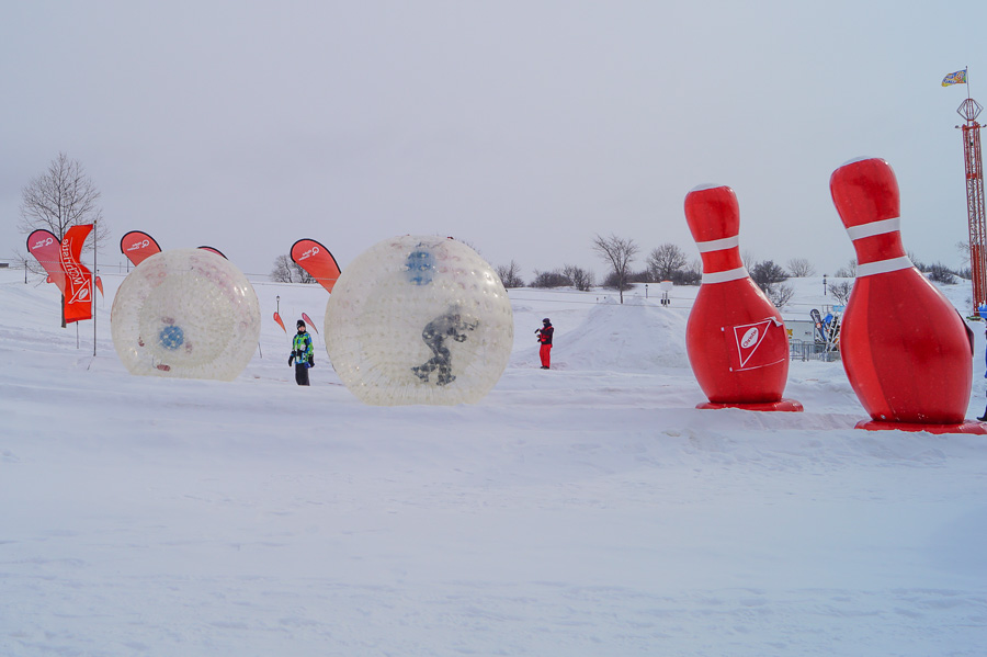 Giant Human Bowling at Quebec Winter Carnival