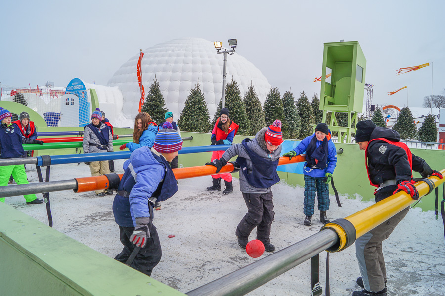 Human-scale Foosball Game at Quebec Winter Carnival
