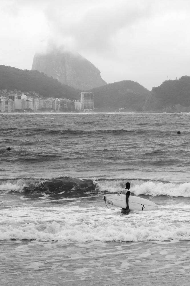 Surfist in Copacabana Beach