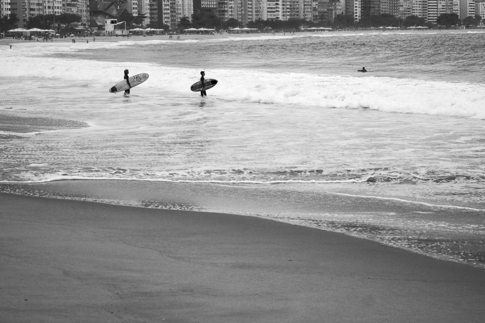 Surfists in Copacabana Beach