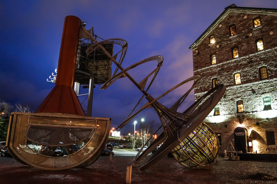 The Distillery District at night
